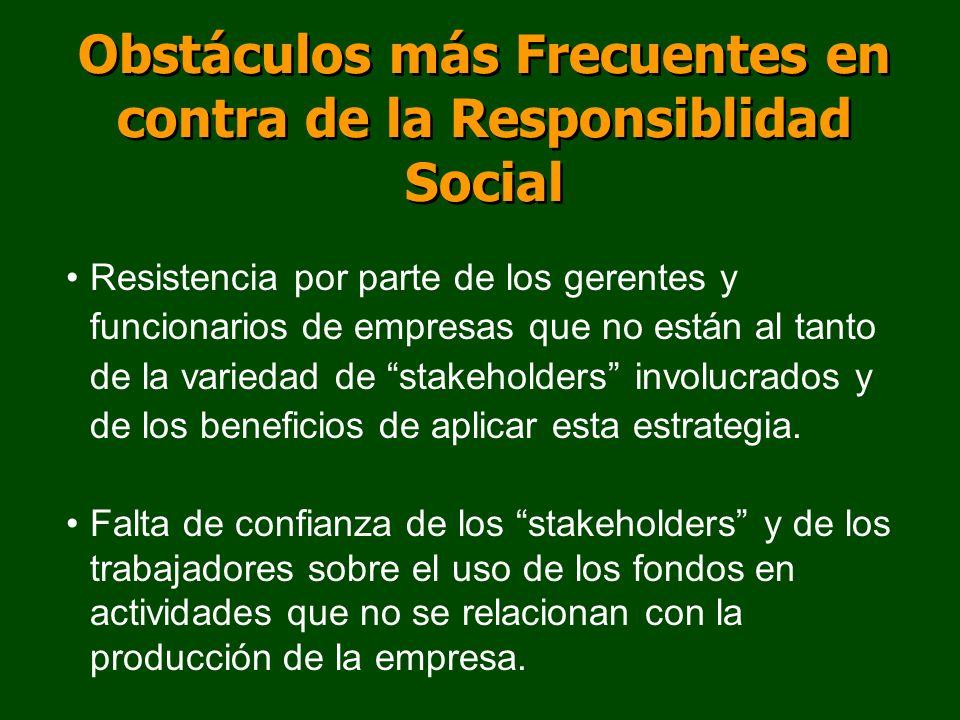 Obstáculos más Frecuentes en contra de la Responsiblidad Social