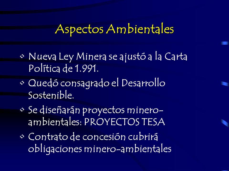 Aspectos AmbientalesNueva Ley Minera se ajustó a la Carta Política de 1.991. Quedó consagrado el Desarrollo Sostenible.