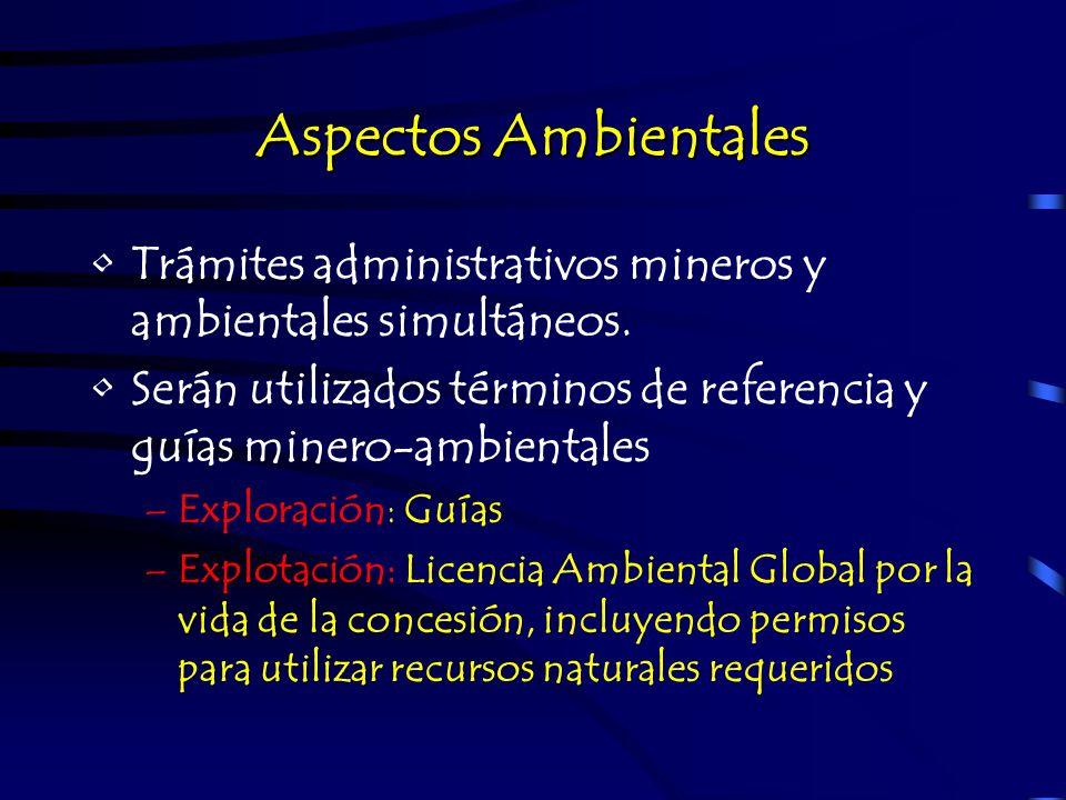 Aspectos AmbientalesTrámites administrativos mineros y ambientales simultáneos. Serán utilizados términos de referencia y guías minero-ambientales.