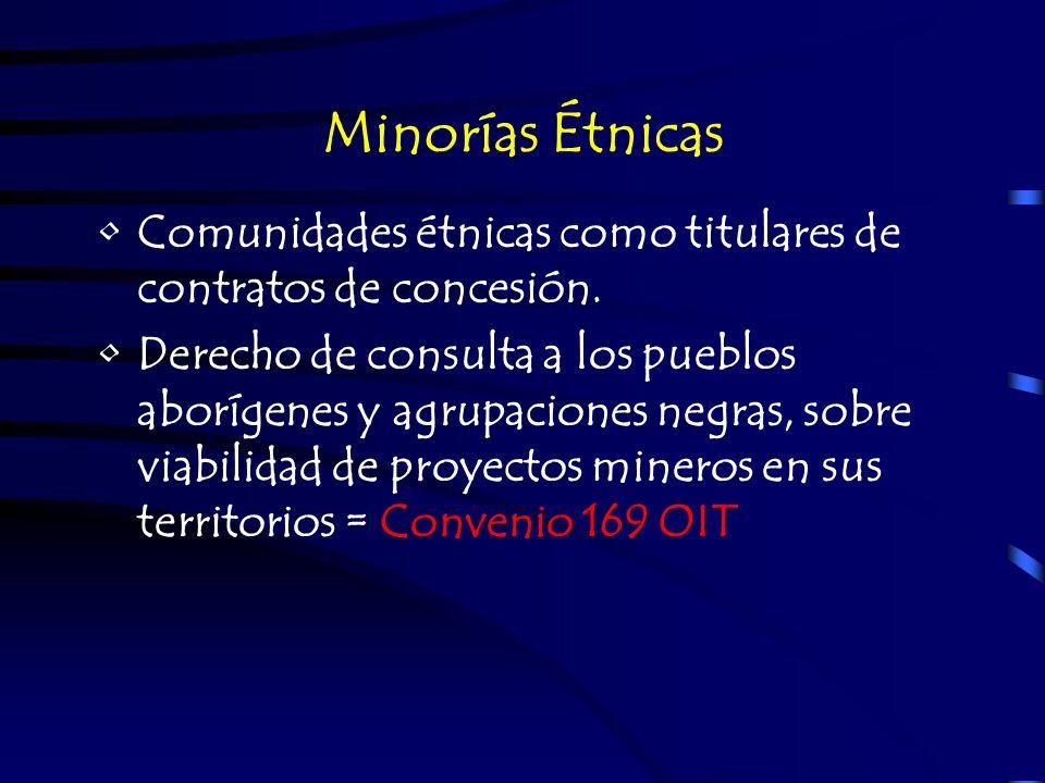 Minorías Étnicas Comunidades étnicas como titulares de contratos de concesión.