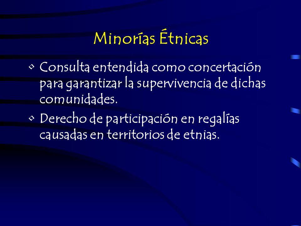 Minorías ÉtnicasConsulta entendida como concertación para garantizar la supervivencia de dichas comunidades.