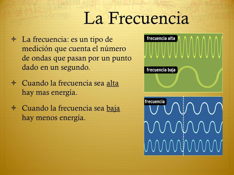 La Frecuencia La frecuencia: es un tipo de medición que cuenta el número de ondas que pasan por un punto dado en un segundo.