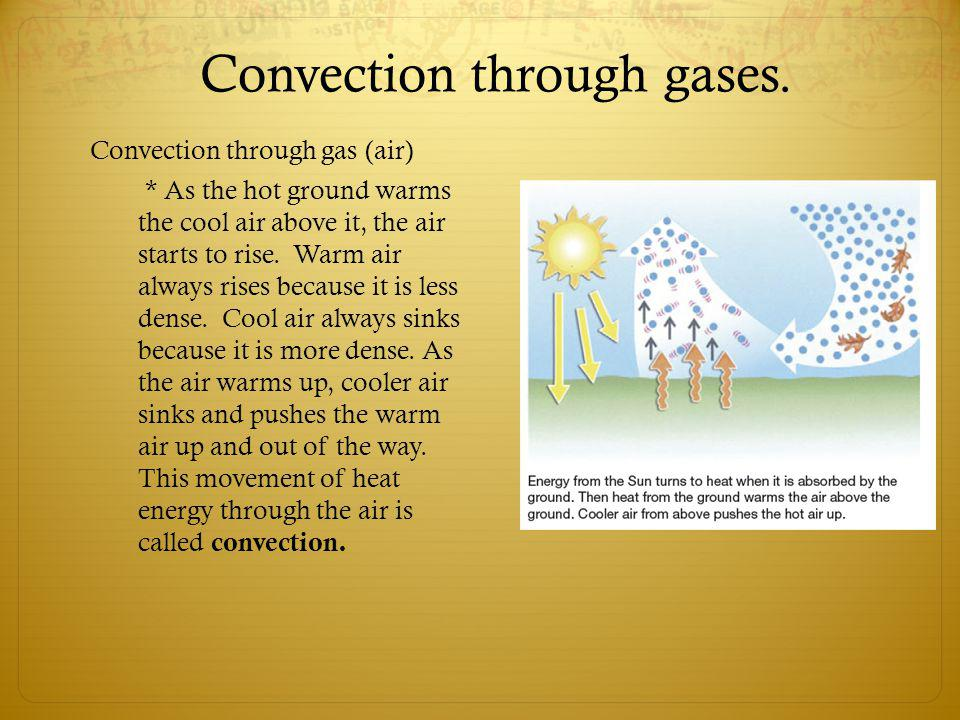 Convection through gases.