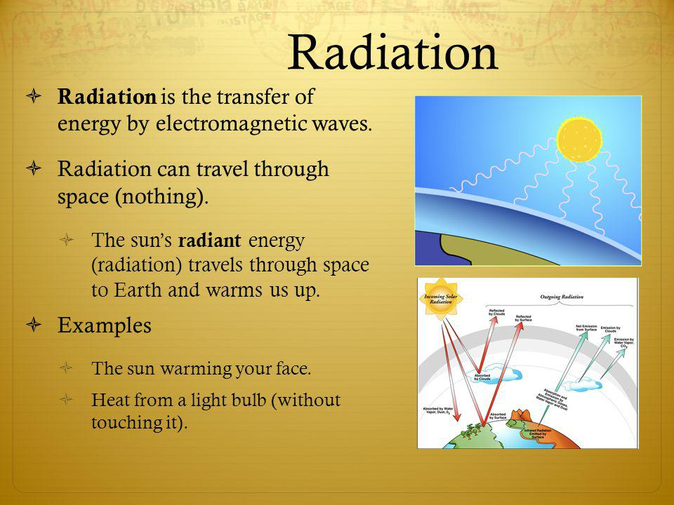 Radiation Radiation is the transfer of energy by electromagnetic waves. Radiation can travel through space (nothing).