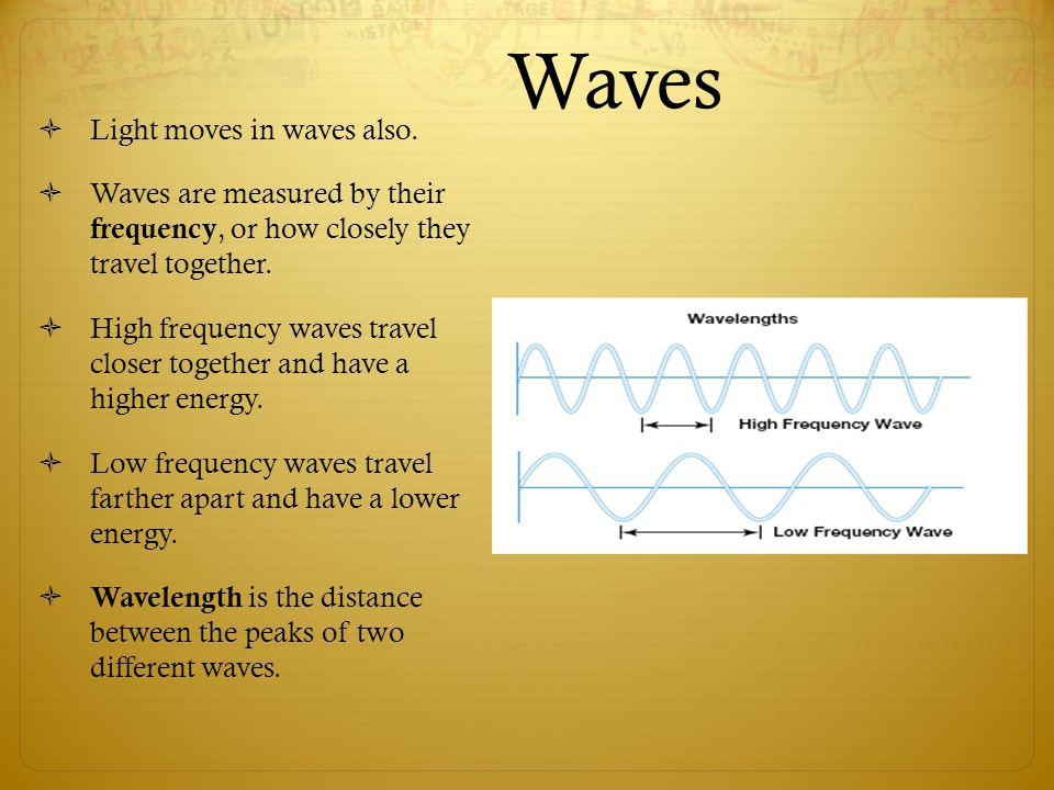 Waves Light moves in waves also.