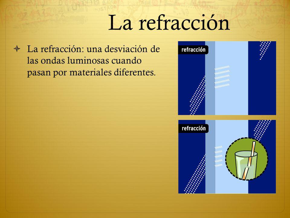 La refracción La refracción: una desviación de las ondas luminosas cuando pasan por materiales diferentes.