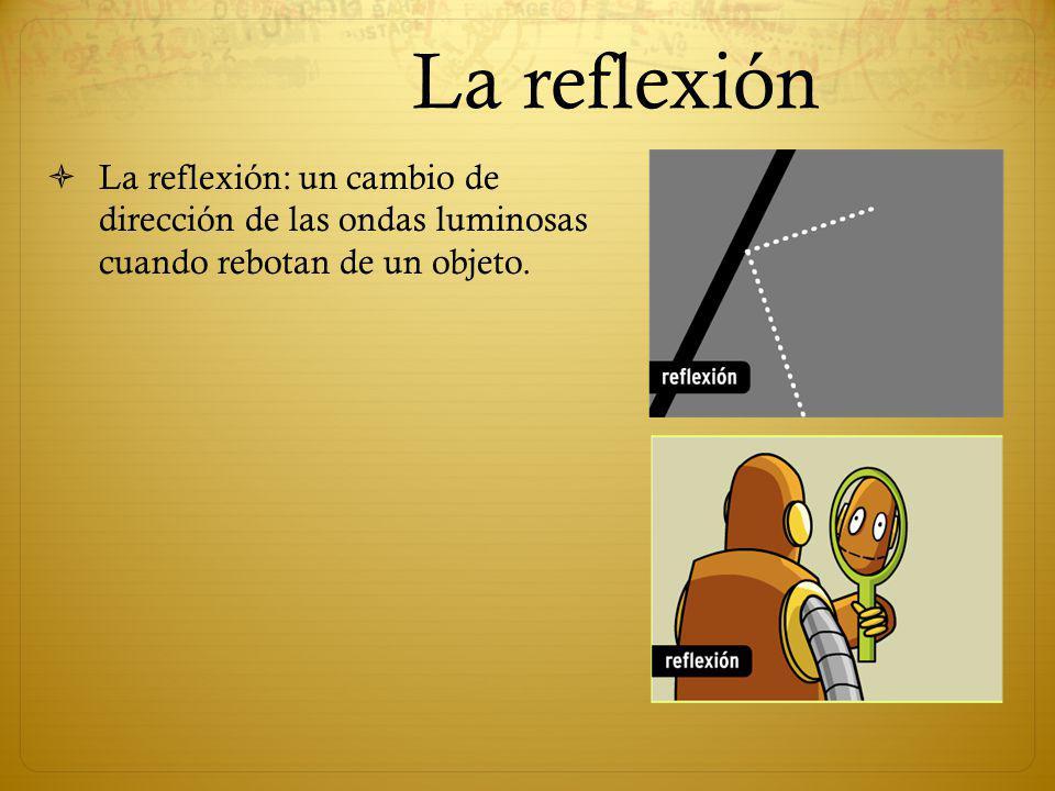 La reflexión La reflexión: un cambio de dirección de las ondas luminosas cuando rebotan de un objeto.