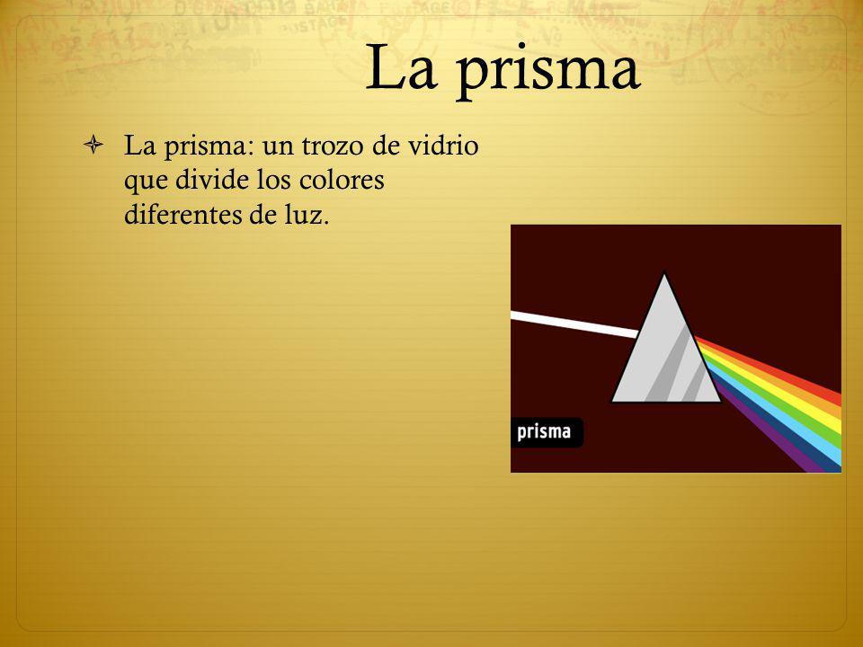 La prisma La prisma: un trozo de vidrio que divide los colores diferentes de luz.