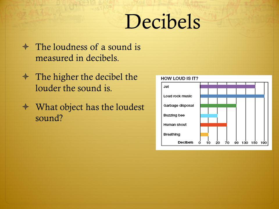 Decibels The loudness of a sound is measured in decibels.