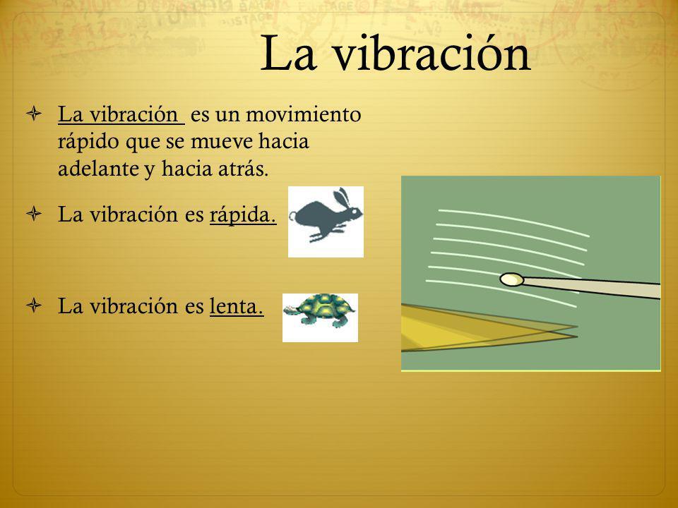 La vibración La vibración es un movimiento rápido que se mueve hacia adelante y hacia atrás. La vibración es rápida.