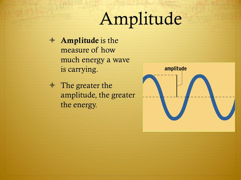Amplitude Amplitude is the measure of how much energy a wave is carrying.