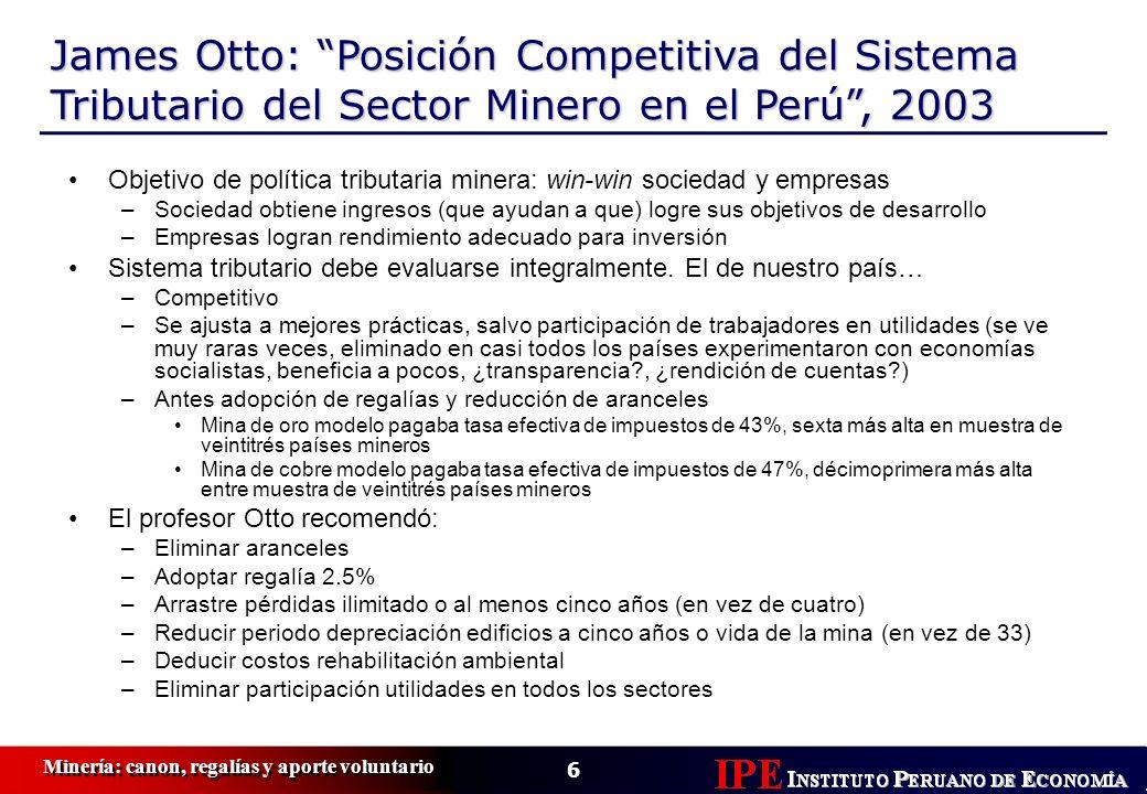 James Otto: Posición Competitiva del Sistema Tributario del Sector Minero en el Perú , 2003
