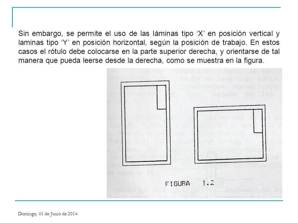 Sin embargo, se permite el uso de las láminas tipo 'X' en posición vertical y laminas tipo 'Y' en posición horizontal, según la posición de trabajo. En estos casos el rótulo debe colocarse en la parte superior derecha, y orientarse de tal manera que pueda leerse desde la derecha, como se muestra en la figura.