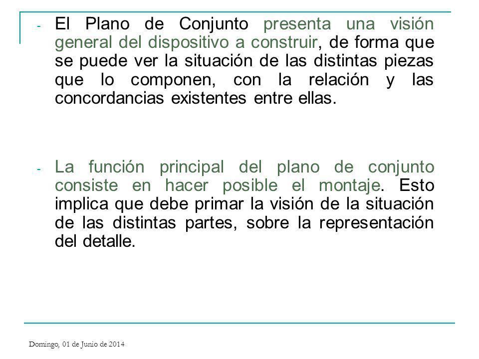El Plano de Conjunto presenta una visión general del dispositivo a construir, de forma que se puede ver la situación de las distintas piezas que lo componen, con la relación y las concordancias existentes entre ellas.