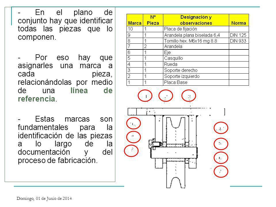 - En el plano de conjunto hay que identificar todas las piezas que lo componen.