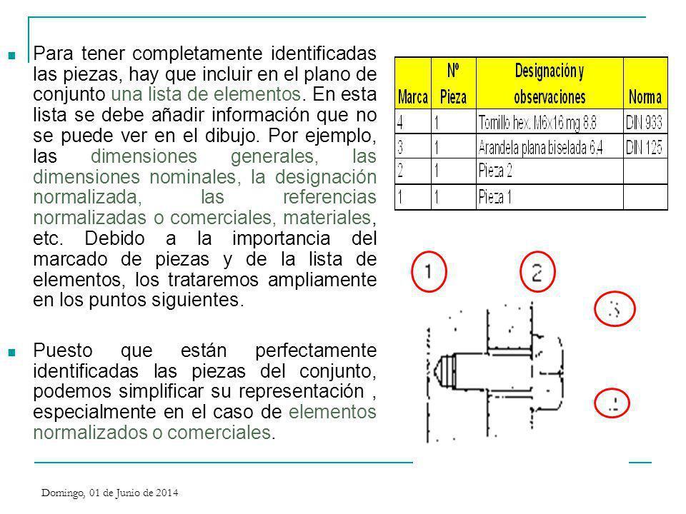 Para tener completamente identificadas las piezas, hay que incluir en el plano de conjunto una lista de elementos. En esta lista se debe añadir información que no se puede ver en el dibujo. Por ejemplo, las dimensiones generales, las dimensiones nominales, la designación normalizada, las referencias normalizadas o comerciales, materiales, etc. Debido a la importancia del marcado de piezas y de la lista de elementos, los trataremos ampliamente en los puntos siguientes.