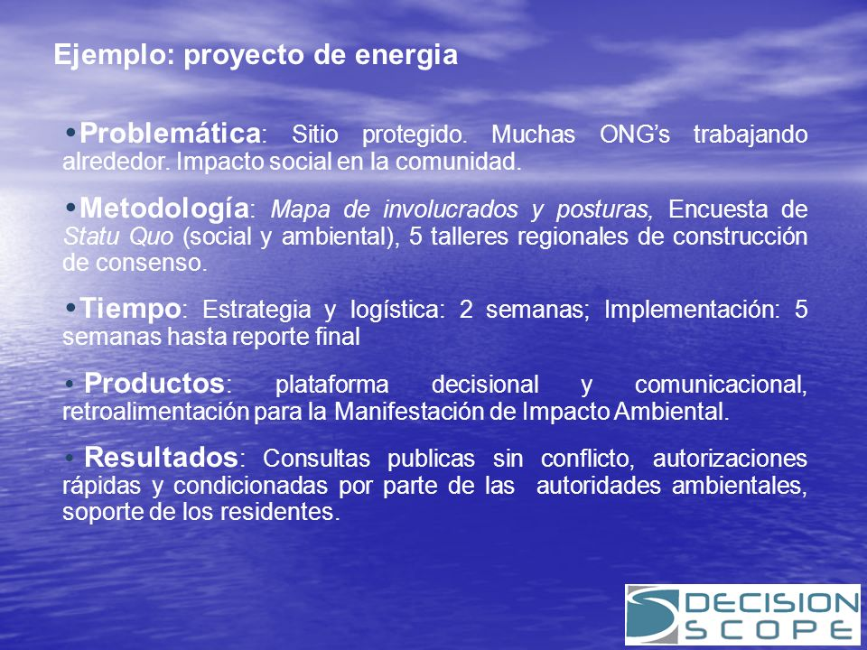 Ejemplo: proyecto de energia