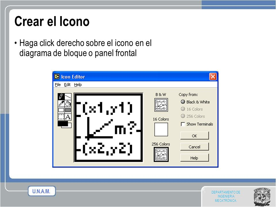 Crear el IconoHaga click derecho sobre el icono en el diagrama de bloque o panel frontal.