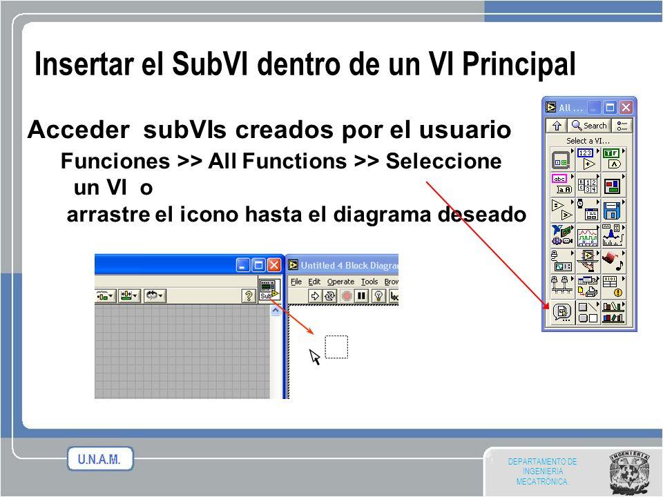 Insertar el SubVI dentro de un VI Principal