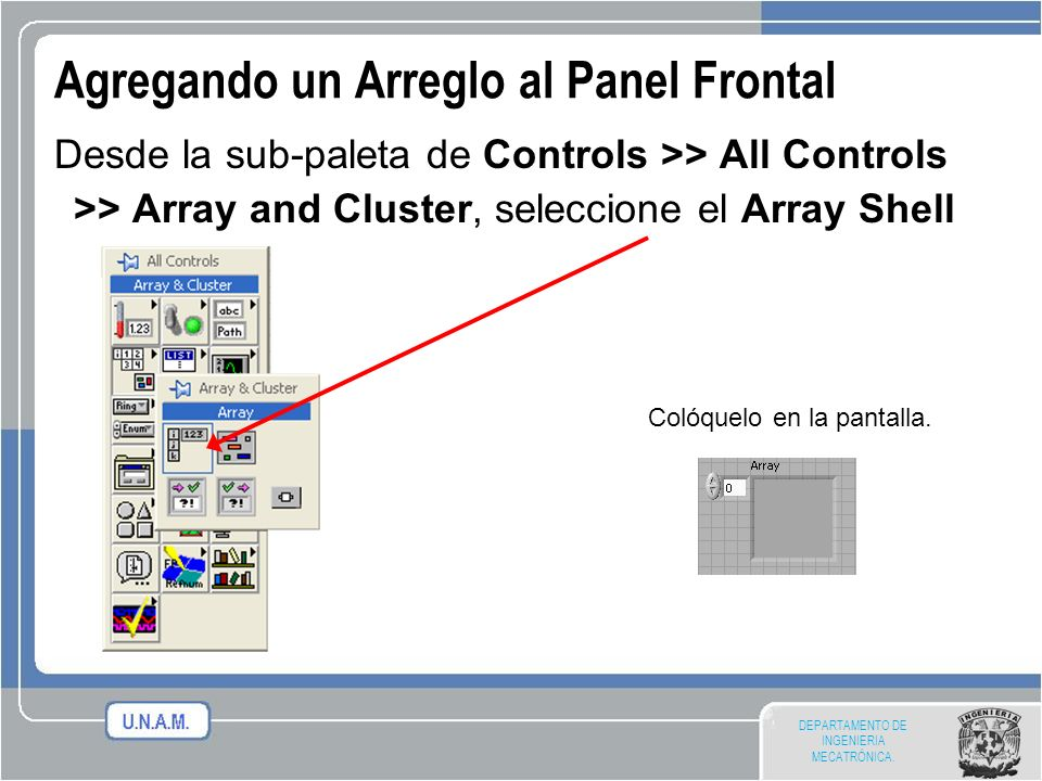 Agregando un Arreglo al Panel Frontal