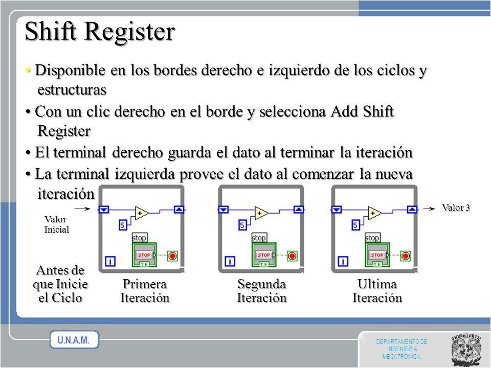 Shift Register • Disponible en los bordes derecho e izquierdo de los ciclos y estructuras.