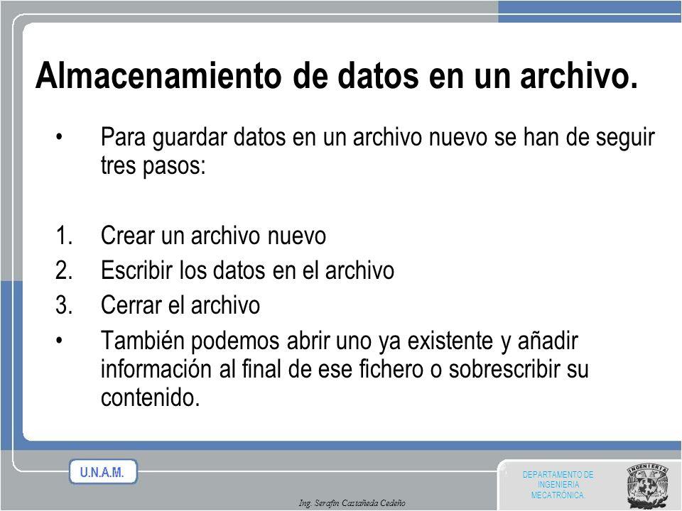 Almacenamiento de datos en un archivo.