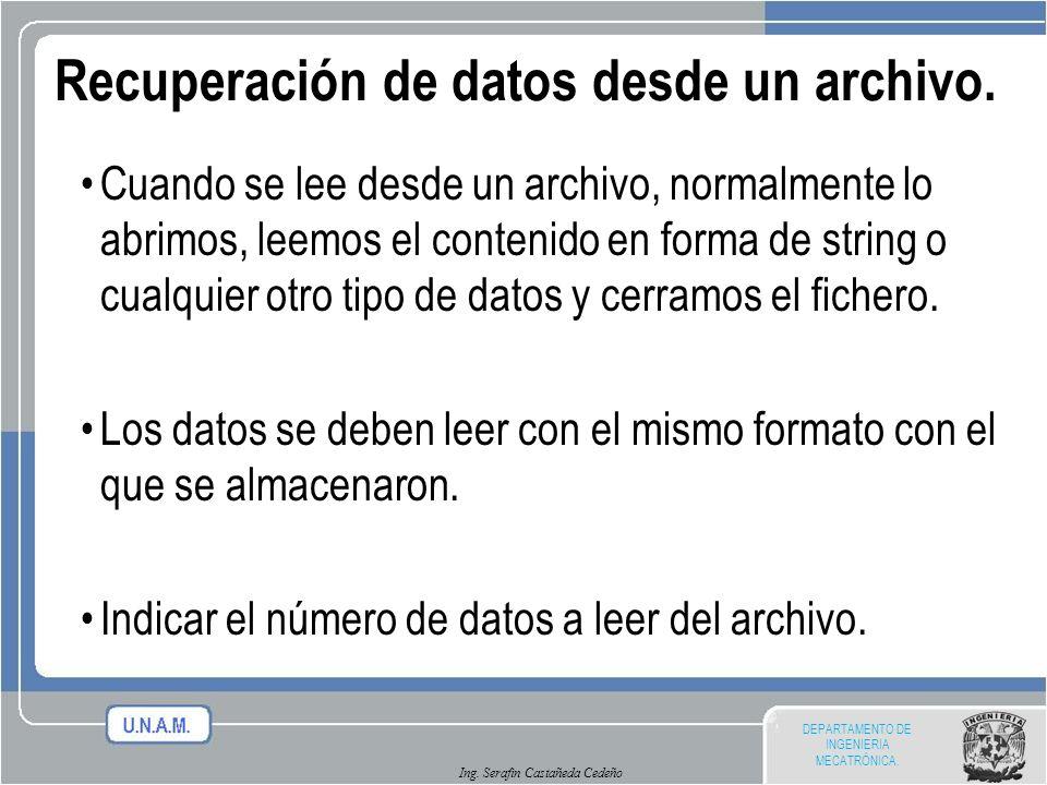 Recuperación de datos desde un archivo.