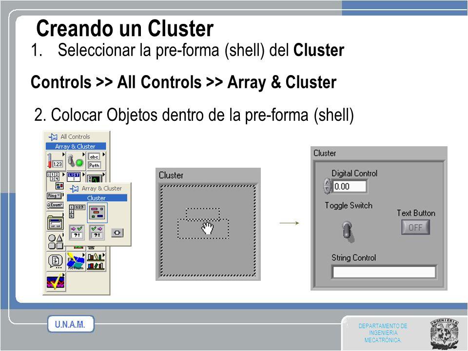 Creando un Cluster Seleccionar la pre-forma (shell) del Cluster