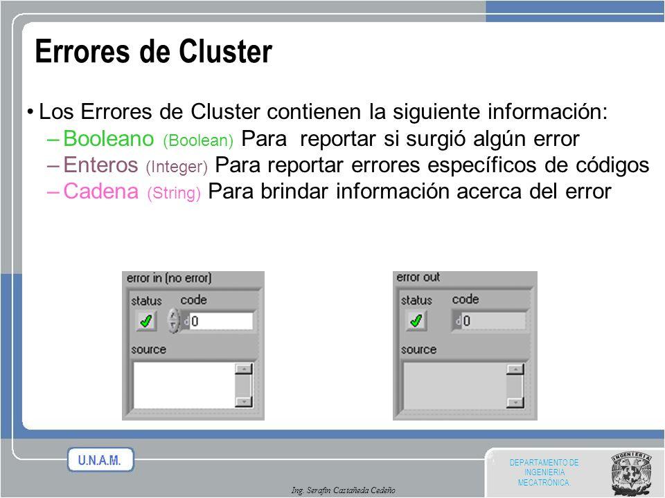 Errores de Cluster Los Errores de Cluster contienen la siguiente información: Booleano (Boolean) Para reportar si surgió algún error.
