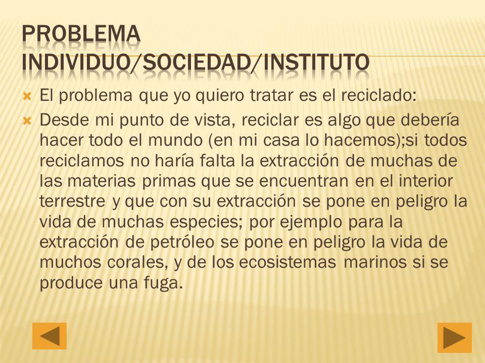 Problema individuo/sociedad/instituto