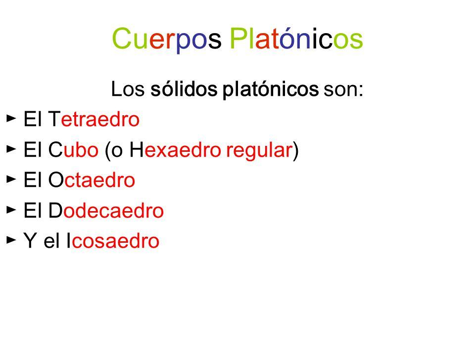 Los sólidos platónicos son: