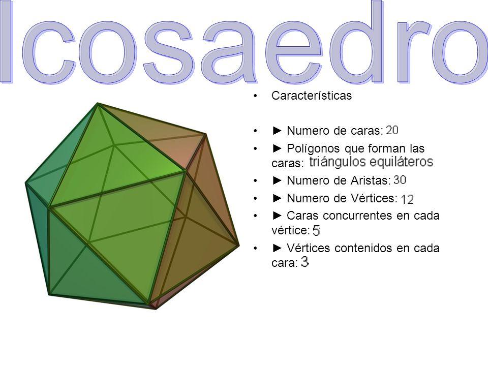Icosaedro Características ► Numero de caras: