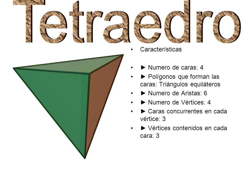 Tetraedro Características ► Numero de caras: 4