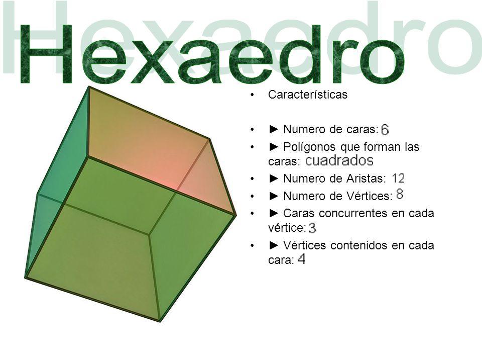 Hexaedro Características ► Numero de caras: