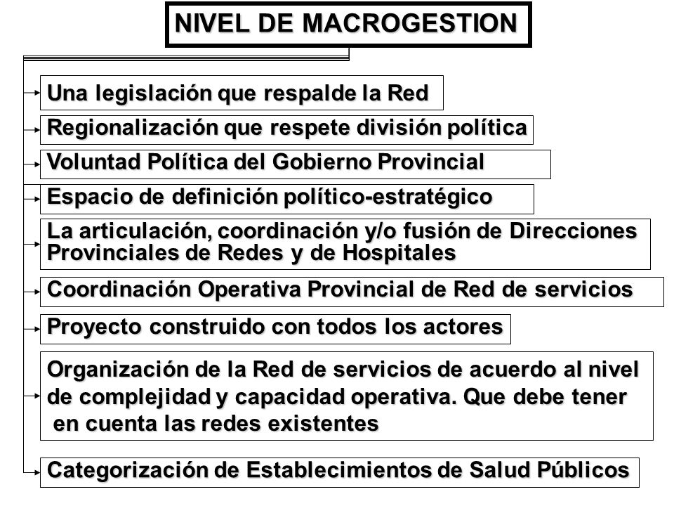 NIVEL DE MACROGESTION Una legislación que respalde la Red