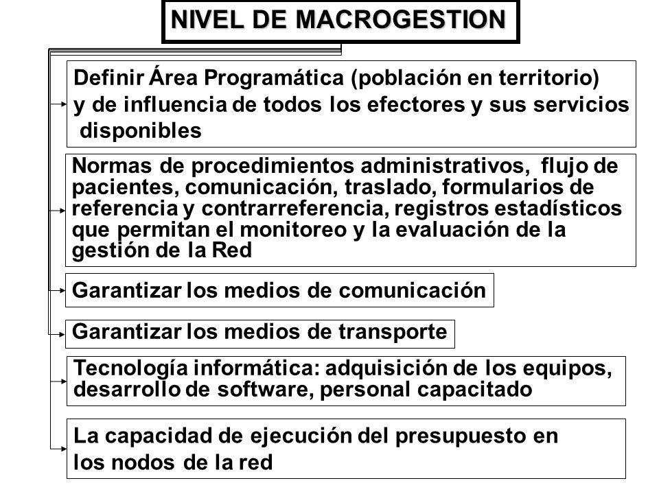 NIVEL DE MACROGESTION Definir Área Programática (población en territorio) y de influencia de todos los efectores y sus servicios.