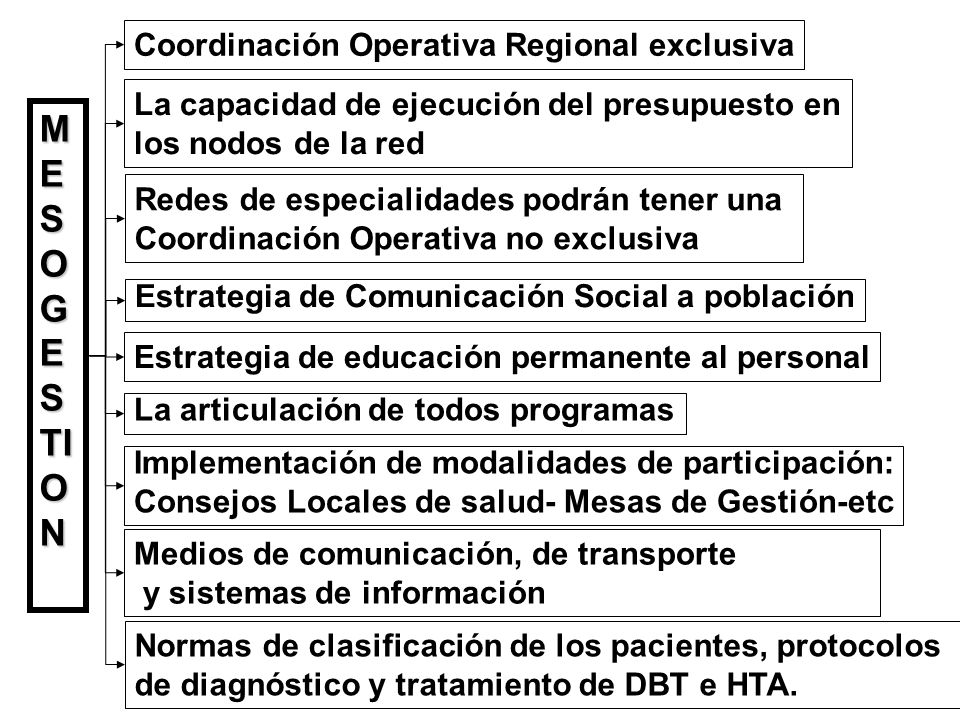 MESOGESTION Coordinación Operativa Regional exclusiva