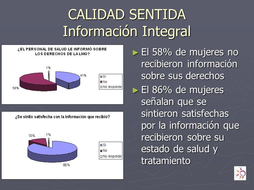 CALIDAD SENTIDA Información Integral