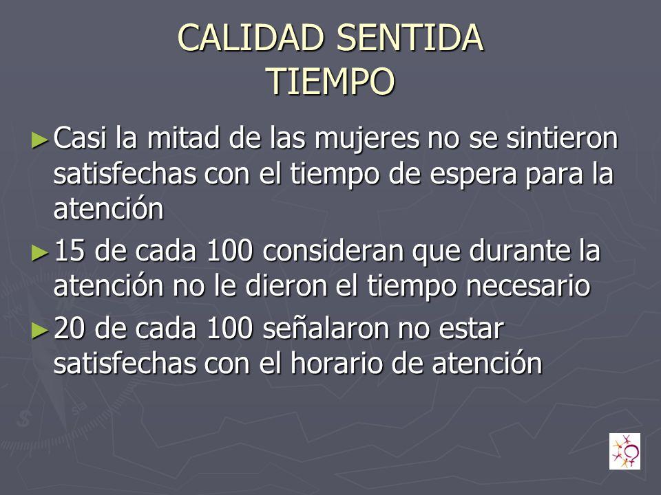 CALIDAD SENTIDA TIEMPO