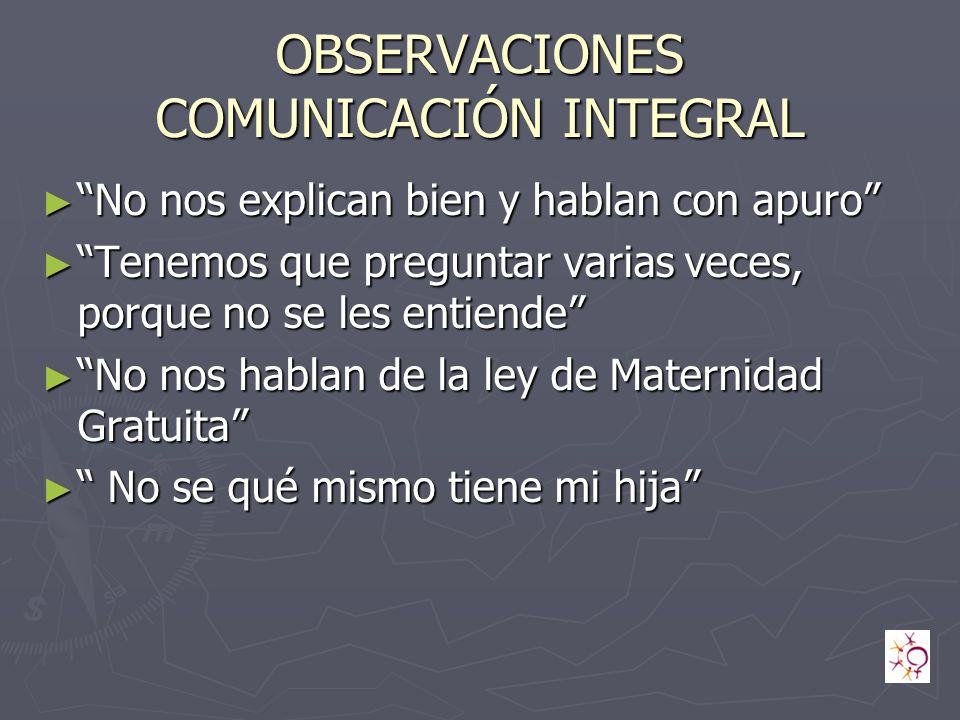 OBSERVACIONES COMUNICACIÓN INTEGRAL