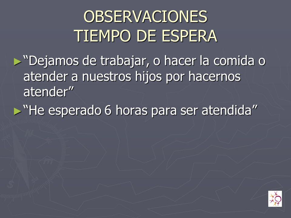 OBSERVACIONES TIEMPO DE ESPERA