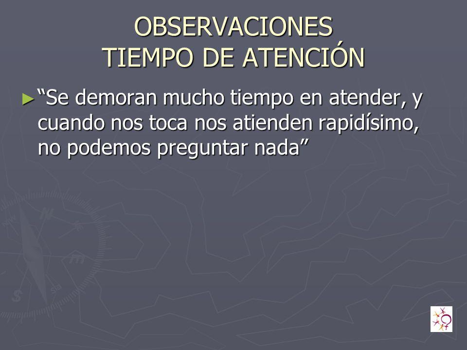 OBSERVACIONES TIEMPO DE ATENCIÓN