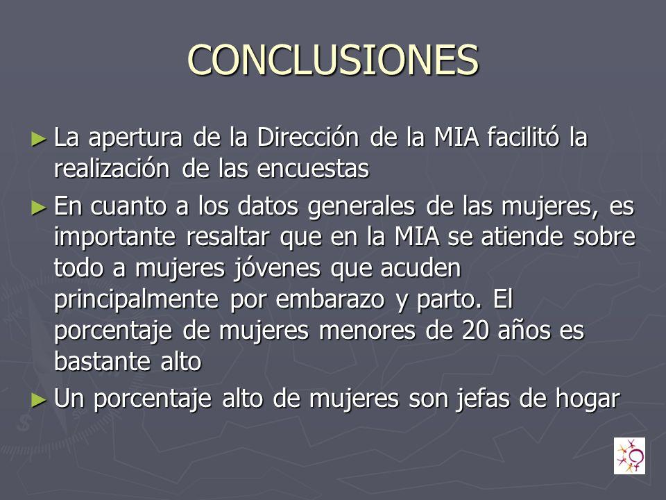 CONCLUSIONES La apertura de la Dirección de la MIA facilitó la realización de las encuestas.