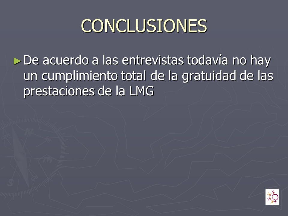 CONCLUSIONES De acuerdo a las entrevistas todavía no hay un cumplimiento total de la gratuidad de las prestaciones de la LMG.
