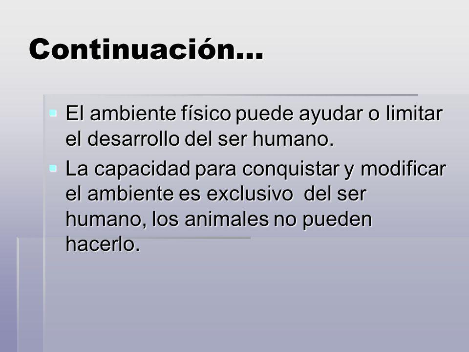 Continuación… El ambiente físico puede ayudar o limitar el desarrollo del ser humano.