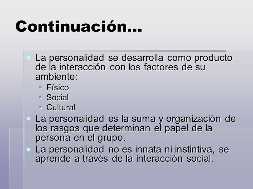 Continuación… La personalidad se desarrolla como producto de la interacción con los factores de su ambiente: