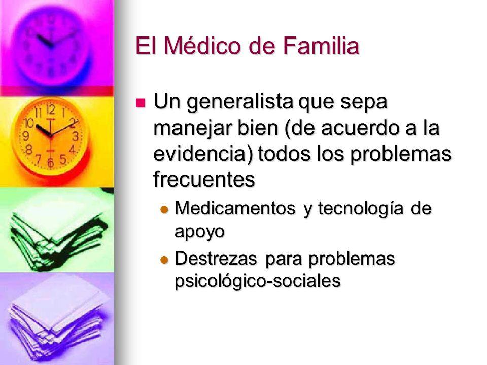 El Médico de Familia Un generalista que sepa manejar bien (de acuerdo a la evidencia) todos los problemas frecuentes.