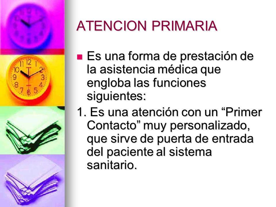ATENCION PRIMARIA Es una forma de prestación de la asistencia médica que engloba las funciones siguientes: