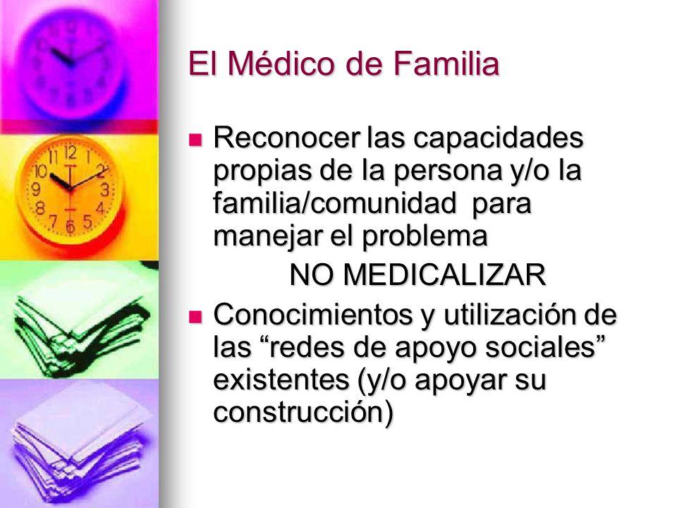 El Médico de Familia Reconocer las capacidades propias de la persona y/o la familia/comunidad para manejar el problema.