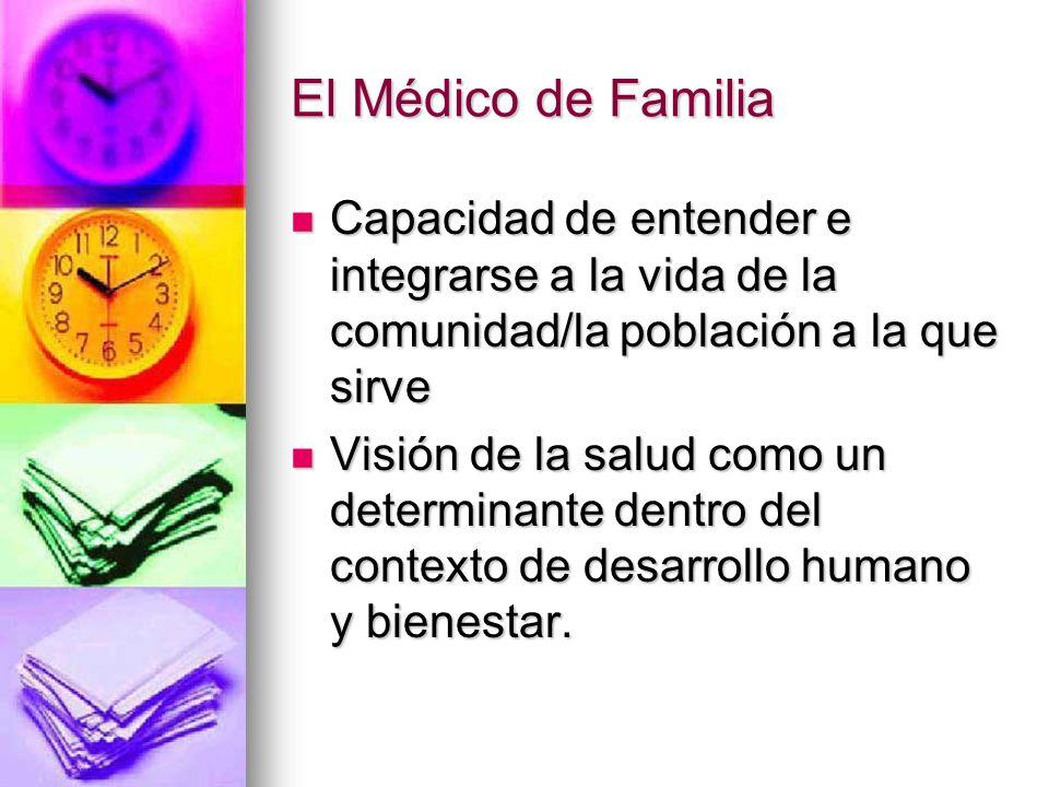 El Médico de Familia Capacidad de entender e integrarse a la vida de la comunidad/la población a la que sirve.